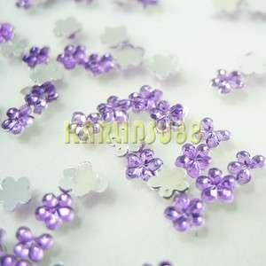 1000pc Light Purple Glitter Flower Rhinestones Nail Art