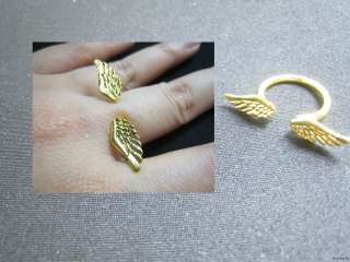 Fashion Alloy Angel Wings Adjustable Ring Gold Silver