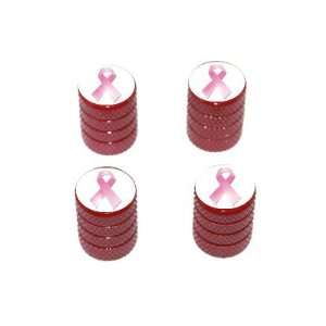 Breast Cancer Ribbon   Tire Rim Valve Stem Caps   Red