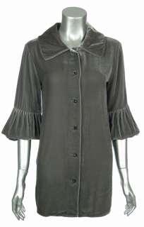Sutton Studio Womens Velvet Puff Sleeve Shirt Blouse