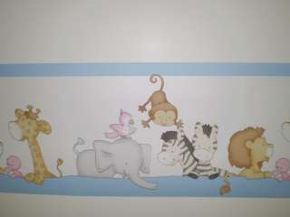 Baby Animals on White with Blue Childs Room Border