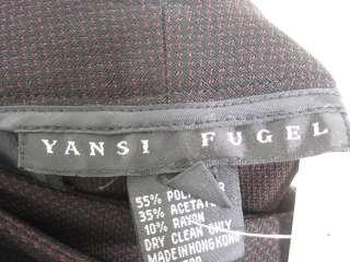 YANSI FUGEL Black Red Print Ankle Pants Slacks Sz 2