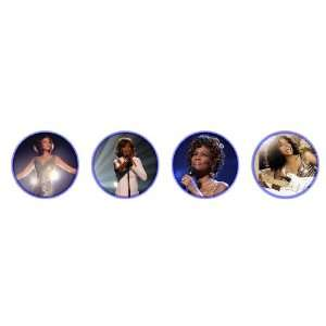 Set of 4 Whitney Houston 1.25 Badge Pinback Button Set 2