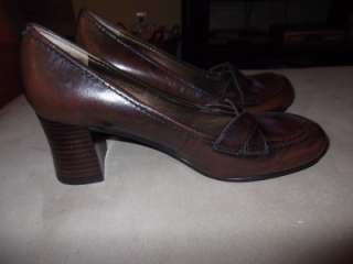 Womens Nine West Harlino Brown Leather Heels Shoes Pumps Size 6