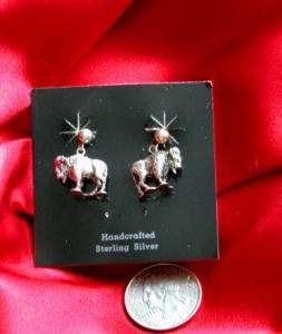 Sterling Silver Unique Drop Buffalo Earrings