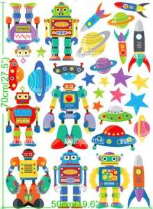ROBOTS; SPACE SHIPS & UFO Kids Wall sticker for Kids/Nursery, sheet