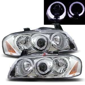 04 06 Nissan Sentra B15 Halo Projector Headlights   Chrome