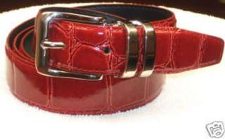 CHERRY RED Bonded Leather Belt Silver Tone Buckle sz 38