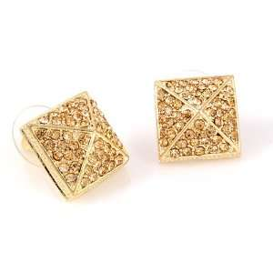 Topaz Colored Crystal Square/Pyramid Earrings Fashion Jewelry Jewelry