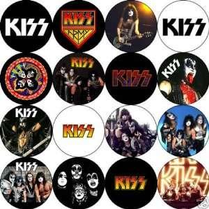 Set of 16 KISS Rock Band Pinback Buttons 1.25 Pins / Badges Gene