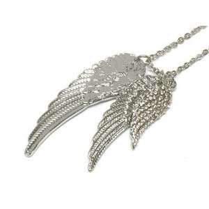 Gorgeous Triple Angel Wing Charm Necklace with Austrian