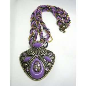Tibetan Tribal Celtic Symbols Necklace   Purple