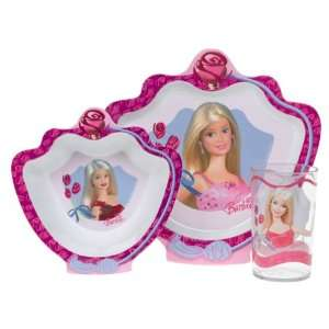 Barbie Girls 3 Piece Dinnerware Set Plate Bowl Dish Cup