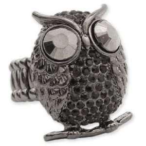 Trendy ZAD Black Crystal Covered Owl Stretch Ring Black
