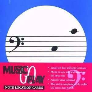 Set of 17 Bass Clef Note Location Flash Cards: Musical
