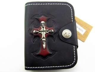 Rocker Cowboy Skull & Cross Mens Leather Wallet Skull Badge W4V1