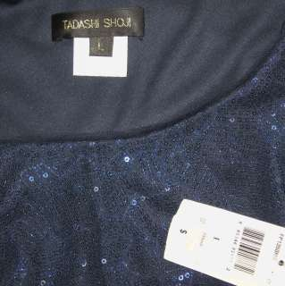 TADASHI Navy Ruched Sequin Jersey Knit Dress NWT