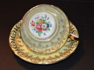 AYNSLEY GREEN GOLD FLORAL CENTER TEA CUP AND SAUCER ENGLAND ESTATE