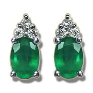 .12 ct 6X4 Oval Emerald Classic White Gold Earring Jewelry