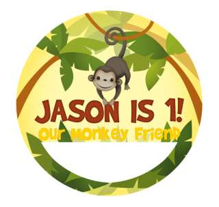 MONKEY Personalized Birthday Party Favors NAME TAG STICKERS