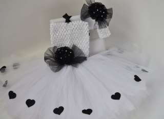 NEW tutu dress headband bow baby girl white , red , newborn infant up