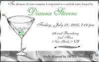 Cocktail Party Martini Bachelorette Wedding Invitations