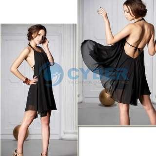 Fashion Backless Jewel Black Chiffon Halter Mini Dress