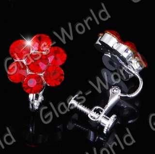 NEW Red Flower Rhinestone Crystal Necklace Earrings Set