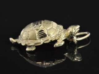 Vintage 14K Gold Sea Turtle Beach Animal Charm Pendant
