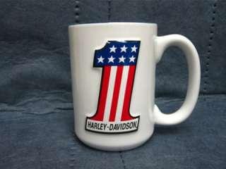Harley Davidson #1 Sculpted Coffee Mug   Set of 2