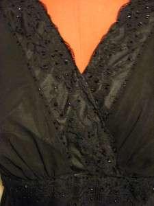 New $60 BAHARI black chiffon lace beaded formal top