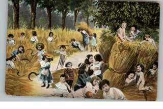 FERTILITY FARMING Children w Scythes Baling Hay c1910