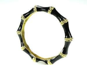 Kenneth Jay Lane Black Bamboo Enamel Bangle Bracelet