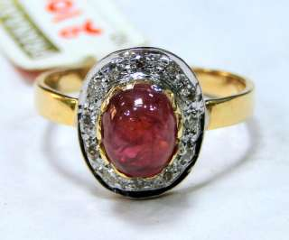 14 cts solid gold diamond Ring genuine Kabul Ruby jewelry