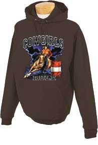 Cowgirls Rule Barrel Racing Horse Hooded Sweatshirt