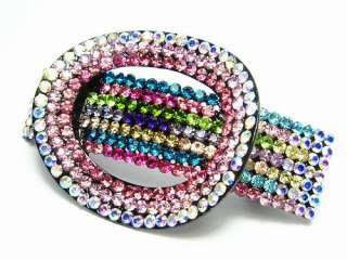 BUCKLE HAIR BARRETTE CLIP PONY HOLDER AUSTRIAN RHINESTONE CRYSTAL