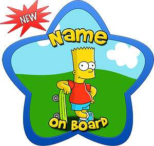 Personalised Star Shaped Bart Simpson Child/Baby on Board Car Sign New