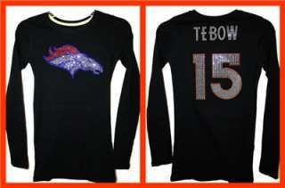 Womens Denver Broncos Tim Tebow Bling Jersey Tank Top Tee T Shirt