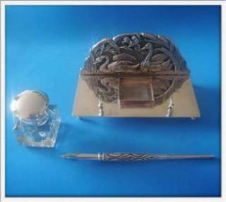 Vtg Sterling SILVER Swan Inkwell + Dip Pen + Stand