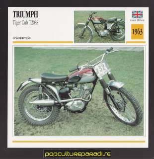 1963 TRIUMPH TIGER CUB T20SS British MOTORCYCLE ATLAS PHOTO CARD