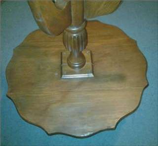 Vtg 2 Tier Wood Pie Crust Tri Pod Pedestal Parlor Table Plant Stand