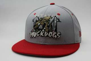 Batavia Muckdogs Grey Red Brown Authentic 59Fifty MiLB New Era Fitted
