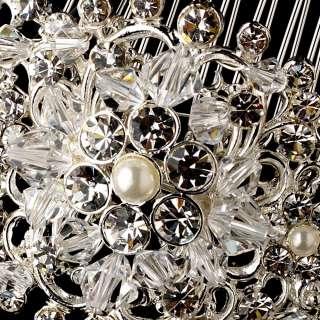 PEARL RHINESTONE STRASS BRIDAL TIARA HAIR COMB veil clip 585sv