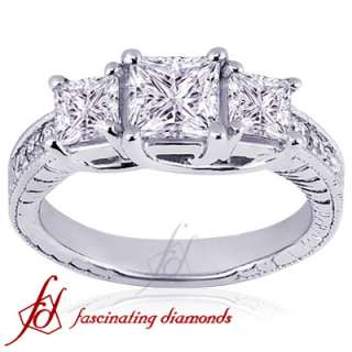 Ct 3 Stone Princess Cut Diamond Engagement Ring VS1