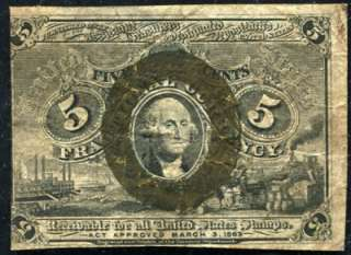 USA Fractional Currency 5 Cents 1863 Bank Note  @2