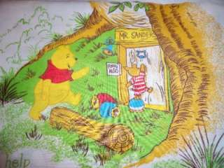 Vintage Winnie The Pooh Twin Sheets Fabric Flat Fitted