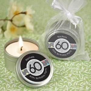 60th Birthday Personalized Party Candle Tin Favors Baby