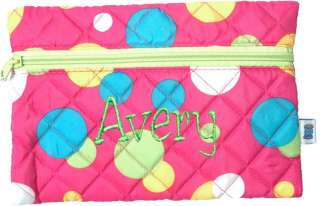 PERSONALIZED Quilted Cosmetic Bag Pink Polka Dot Design