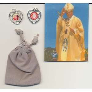 Blessed Pope John Paul II 3rd Class Relic Medal with Holy Card, Photo