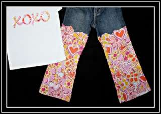 Custom Resell Boutique White XOXO Top Tee Shirt Heart Patch Denim